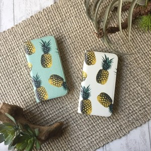 【イニシャルなし】夏に持ちたい♪レトロポップなパイナップル柄 手帳型ケース iPhoneケース スマホケース 全4色♪