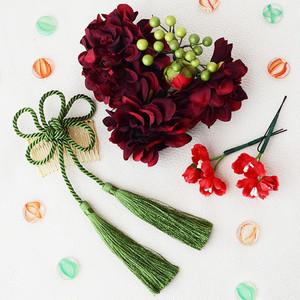 ダリアと組紐タッセルの髪飾り7点SET/レッド・赤[wa051]結婚式 成人式 和装