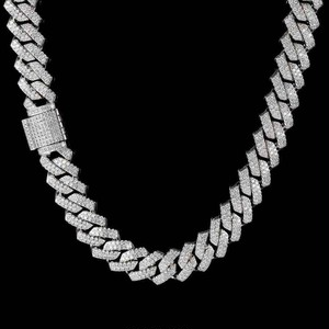Iced Out Prong Chain Necklace 【SILVER】