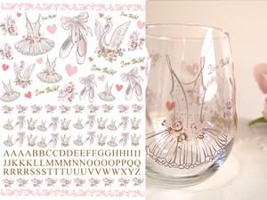 【ガラス用】 水彩 バレエ&アルファベット A4サイズ(ポーセラーツ転写紙 バレリーナ)