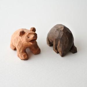 小さな木彫りの熊の兄弟 B(2つセット)