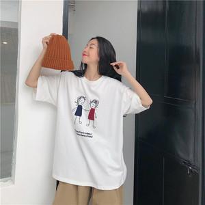 【トップス】ins春夏カートゥーン韓国風アルファベットカジュアル五分袖Tシャツ