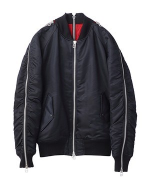 JOHN LAWRENCE SULLIVAN ZIP BOMBER JACKET BLACK