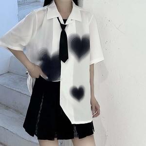【トップス】レトロ半袖シングルブレストPOLOネックプリントシャツ46862463