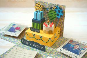【誕生日などのお祝いに】*飛び出す立体メッセージ*PARTYな祝い箱・クラフト