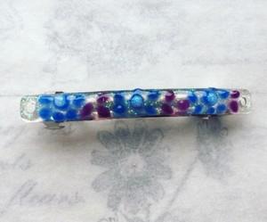 パレッタ 髪飾り 青 紫 ドット 花 インパクト カジュアル レジン プレゼント