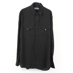 YOHJI YAMAMOTO POUR HOMME / ヨウジヤマモトプールオム   レギュラーカラーワークシャツ   ブラック