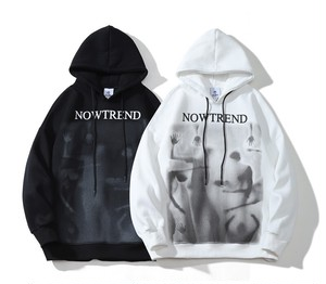 ★UNISEX Nowtrendプリントフーディー(White,Black) 98