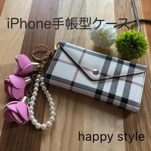iPhone手帳型ケース✨ローズとパールのホルダー付き