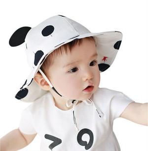 かわいい ベビー ハット 帽子 uvカット あご紐 コットン 赤ちゃん 男の子 女の子 両用 うさぎ ( ブラック ) kcab178