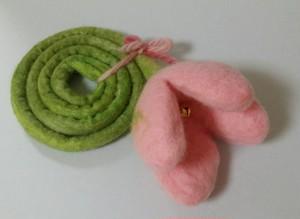 羊毛フェルトフラワーの猫じゃらし ピンク/ピンク