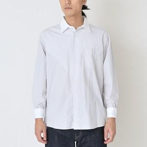 クレリックカラーシャツ グレー x チャコールストライプ