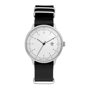 HAROLD【CHPO】 White dial. Black leather strap