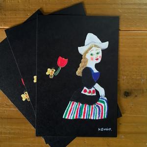 チューリップ摘みの少女 ポストカード3枚セット