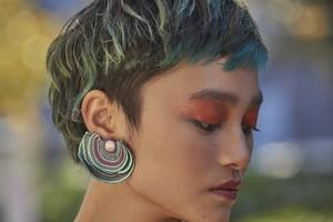 ARRO / Embroidery earring / Turkey Tail / mint green