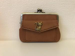 猫さんホックの外ポッケがついた、四角い本革ぺたんこ親子がまぐちミニ財布