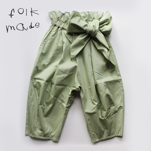folkmade pants with ribbon pale green M・Lサイズ folk made ※メール便可