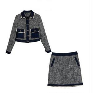 送料無料/スーツセットアップ/ツイード&デニム/ジャケット+スカート