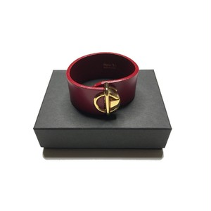 Bijou R.I - Circle Buckle Leather Bracelet (Burgundy) -