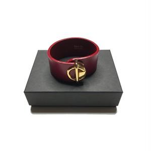 Bijou R.I - Circle Buckle Leather Bracelet (Burgundy) -