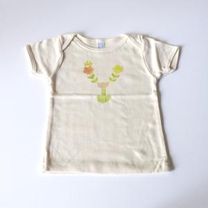 【受注生産】 お花畑アルファベット ベビーTシャツ (グリーン) ● organic cotton 100%