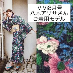 【完売】2分で着れるかんたん浴衣と作り帯のセット(ボタニカルネイビー)