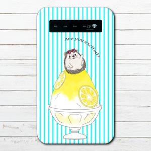 #053-003 モバイルバッテリー ハリネズミ かわいい おしゃれ 動物 iphone スマホ 充電器 タイトル:レモンハリネズミ 作:Hanami