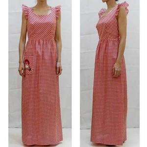 S~Lサイズ【アメリカ製古着】1960年代◆「Marla K」キュートな赤白のギンガムチェックにアンディーのパッチ◆マキシ丈ワンピース