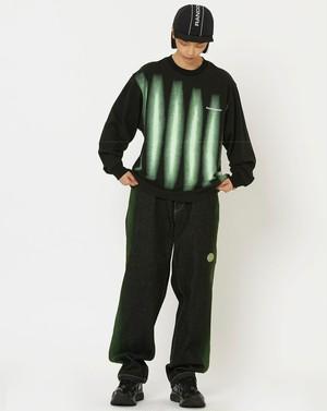 RANDOMEVENTメンズブラックストレートジーンズ。グリーン色落ち