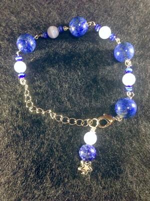 ラピスラズリ×ブルーレースアゲート×キャッツアイ ブレス  Lapis lazuli × blue lace agate × cat's-eye Breath