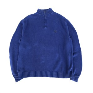 USED 90's CHAPS half zip knit - blue