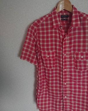 サニースポーツ 赤チェックシャツ Mサイズ