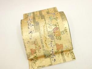 ☆90157☆ 中古美品 袋帯 引箔 流水 短冊に四季草花 鶴模様 煌びやか