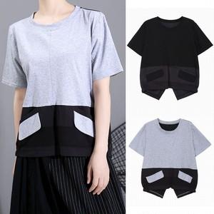 異素材 Tシャツ トップス 大きいポケット アシンメトリー 韓国ファッション レディース バイカラー 半袖 ラウンドネック 大人カジュアル 大人可愛い 619799885217