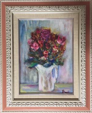 薔薇の花々*額装油絵*原画*F4号