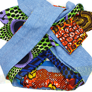 L04 【アフリカ布のヘアバンド/ターバン|ロングリボン】ワイヤー&ムスビ・リバーシブル