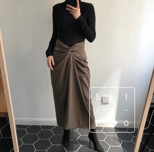 Cross design brown long skirt