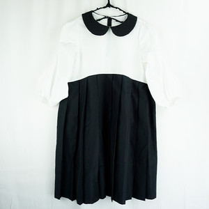 DOTS MT COLLAR PLEATS SKIRT DRESS / LL