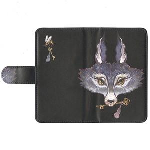 手帳型 スマホケース(L)オオカミ