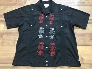 メキシコ製 キューバシャツ グァジャベーラ カジノ 刺繍 レア 希少 ブラック L