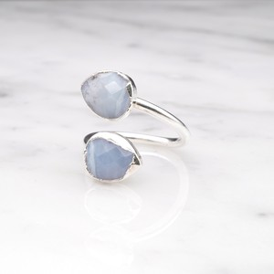 DOUBLE STONE OPEN RING SILVER 028