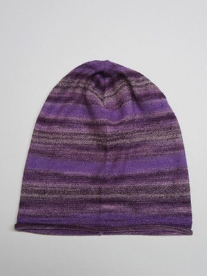 【送料無料】こころが軽くなるニット帽子amuamu|新潟の老舗ニットメーカーが考案した抗がん治療中の脱毛ストレスを軽減する機能性と豊富なデザイン NB-6059|夕紫(ゆうむらさき)