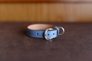 水色の革を使った小型犬用の首輪 K-sz11tb