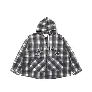 ARCH LOGO TARTAN CHECK HOODED SHIRT / BLACK