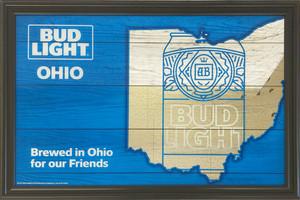 品番0306 パブミラー 『バドライト オハイオ Brewed in Ohio for our Friends』 壁掛 ディスプレイ アメリカン雑貨