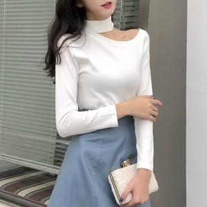 【トップス】女子マストファッション簡約ワンショルダ長袖Tシャツ