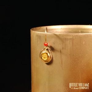 """Wire Earring """"LOGO"""" w/ Metal - Silver 925 x 18K"""