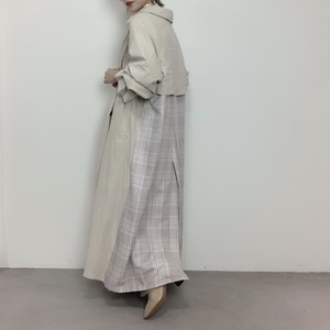 Super long trench CO/ecru×check