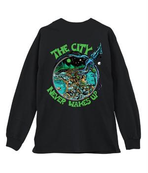 """THE CITY NEVER WAKES UP"" ロングスリーブTシャツ (ブラック)"