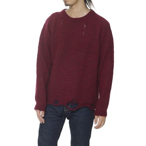 DAMAGED CREW NECK KNIT - BURGUNDY